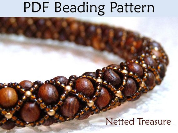 Beading Tutorial, Beadweaving Patterns, Bead Stitching, Necklace Bracelet Jewelry Pattern, Beading Paterna, Instructions, Netted Stitch