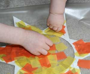 tissue paper sun catcher