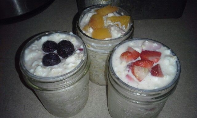 Over night Oatmeal   1/3 cup oats  1/3 cup almond milk  1/3 cup cottage cheese  1pk of stevia Pinch of chia seeds   Fruit of choice  Add oats, almond milk, cottage cheese and chia seeds in jelly size mason jars stir well with spoon. Place desired fruits in each jar push fruit down into mixture. Place lids onto mason jars and refrigerate over night for a quick grab and go breakfast. Can store in refrigerator depending on the ripeness of fruit up to 2 days