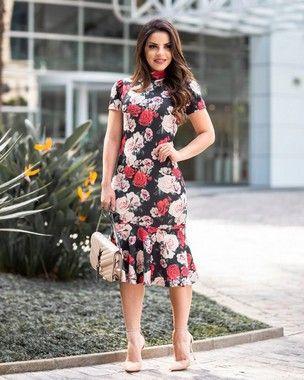 abf0ae5fce Vestido Tubinho Karen Peplum Floral Gola Alta Moda Evangélica ...