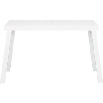 kind of in love with this pocket extension dining table. pure white, lacquered, seats 2-6. <3