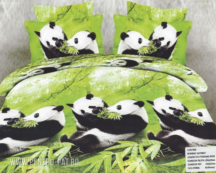 Lenjerie de pat bumbac satinat Pucioasa 3D verde cu ursi panda