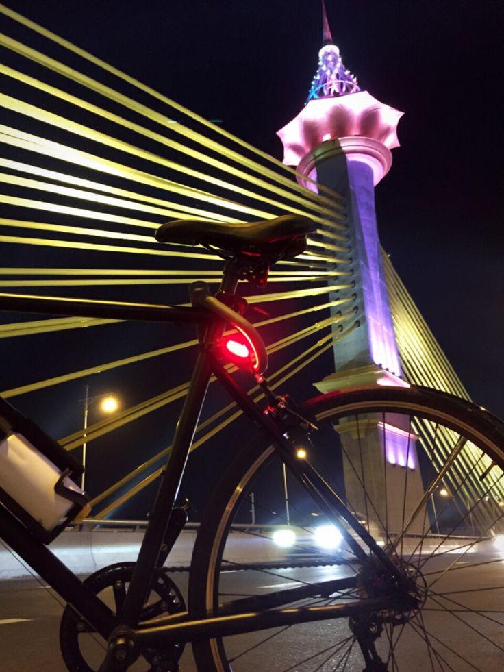 Night ride on new bridge in  Nonthaburi.