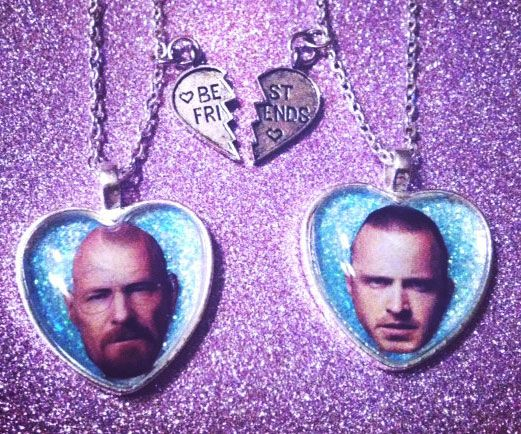 Breaking Bad Friendship Necklace -- Solidify your communication with your BFF with the Breaking Bad friendship jewelry. These chemically true and solid jewelry pendant are foolproof for those incredible solidarity we all materialize upon in our lives, or just for pharmaceutical dealers. Friendship, bitch!