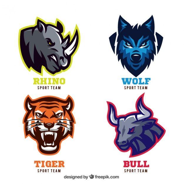 emblemas animais para equipes de esporte Vetor grátis                                                                                                                                                                                 Más