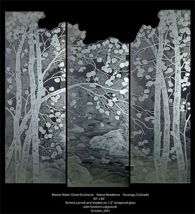 Etched Aspen Tree Shower Doors....many more gorgeous designs on website.