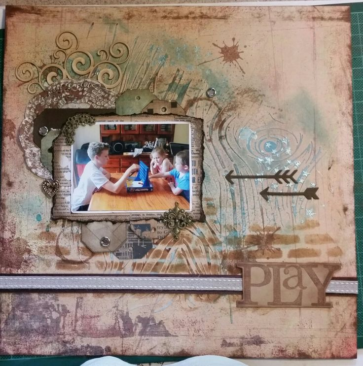 A foray into mixed media Scrapbooking for me. Dies by Little B Stamps by Heidi Swapp,  Stencils by Prima, Crafters Workshop Paper by Authentique, Basic Grey Inks by Tim Holtz