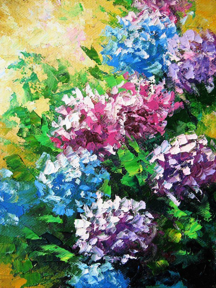 Oil knife painting. Hydrangea small painting. Impasto
