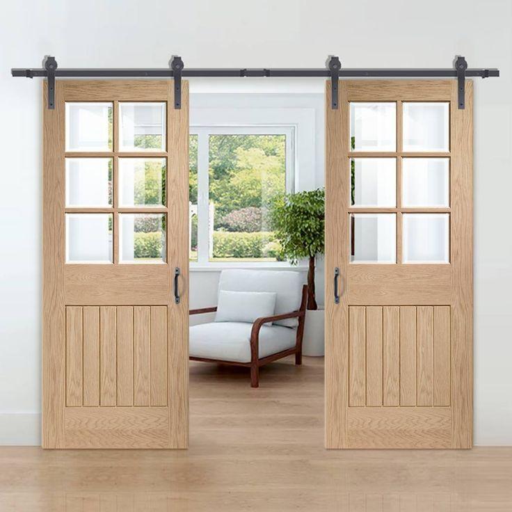 Thruslide Traditional Suffolk Oak 6L Sliding Double Door - Bevelled Clear Glass - Lifestyle Image.    #barndoors #slidingdoors