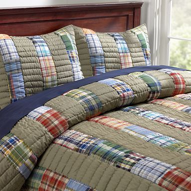 Love the taupe stripe with plaid strips. Would be easy quilt as you go