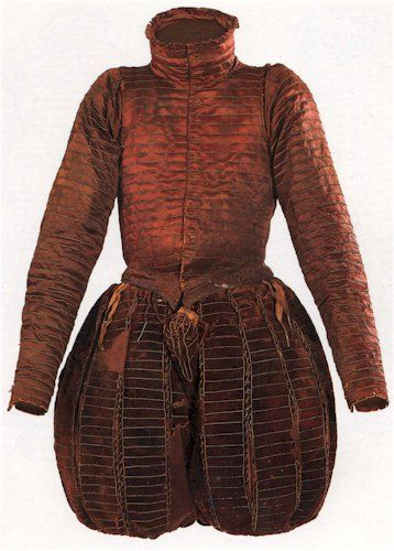""". """"Don Garzia's doublet and paned trunk-hose with cod-piece after conservation."""" 2. """"Conjectured appearance of don Garzia's doublet and trunk-hose. the buttons at the front have been copied from those on the sleeves. The silk points, or lacing ribbons, are shown tied evenly through the worked holes at the waist of the doublet and trunk-hose, and not as they were found in the grave."""""""