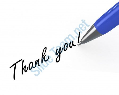 0914 thank you note with blue pen on white background stock photo Slide01