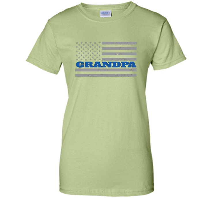 Mens Grandpa Blue Line American Flag Father's Day T-Shirt