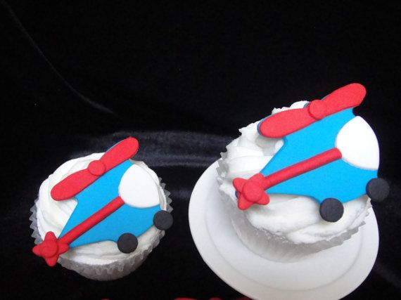 Helicopter Fondant Cupcake Toppers by MamaMiasCupcakes on Etsy, $18.95