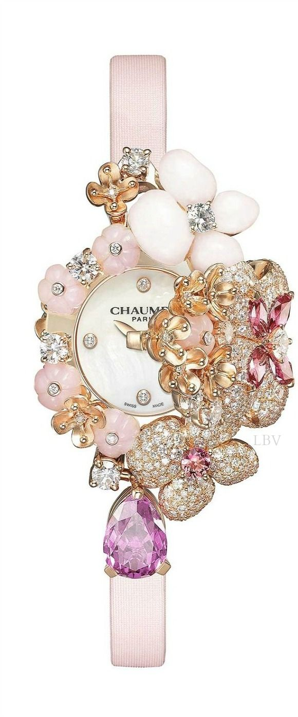 Chaumet Hortensia Secret jewellery watch with powder-pink flowers sculpted in precious gemstones and set with diamonds and pink sapphires.   LBV ♥✤