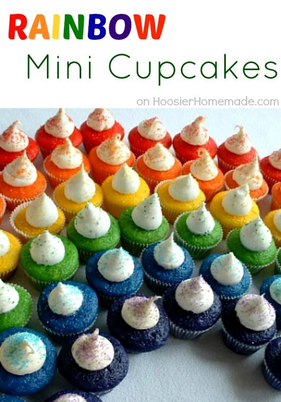 Mini Rainbow Cupcakes | Recipe & Instructions on HoosierHomemade.comBirthday, Food Colors, Saint Patricks Day, Rainbows Cake, St Patricks Day, Rainbows Parties, Rainbows Cupcakes, Rainbow Cupcakes, Minis Cupcakes