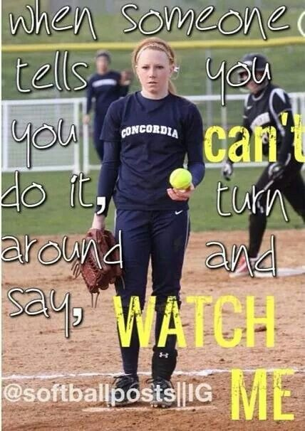 Yes! This is the kind of side I want to see in a softball player!!