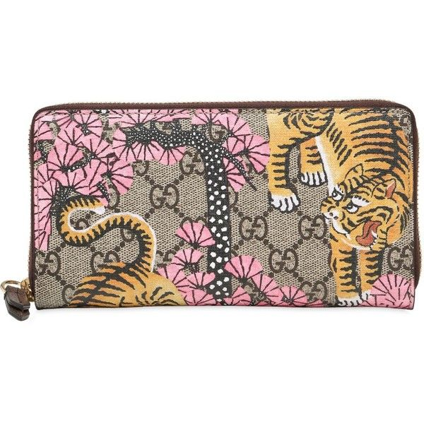 Gucci Women Tiger Cub Gg Supreme Zip Around Wallet (1.820 BRL) ❤ liked on Polyvore featuring bags, wallets, pink, gucci, pink bag, pink wallet, gucci bags and pink zip around wallet