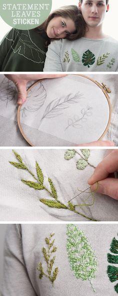 DIY- Anleitung: Blätter sticken, Stickvorlagen für Blätter / diy tutorial: embroidery for statement leaves, stitching via DaWanda.com