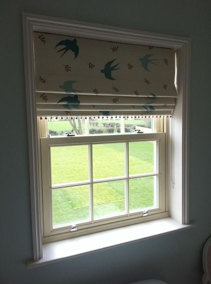 Up in the Air by Vanessa Arbuthnott Roman blind - finished with Susie Watson Pom Pom trim