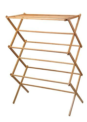 #wooden clothes drying rack Indoor or outdoor clothes drying rack. Nine bars for drying, folds down for easy storage. Unit measures 14. #5-Inch by 29.5-Inch by 41....