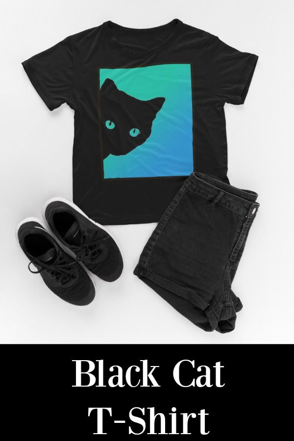 Black Cat T-Shirt With Blue Green Background #cats #catgifts   Get compliments and positive attention with this one of a kind cat tee shirt. Great conversation starter designed for the cat lover. T-shirts for cat people.