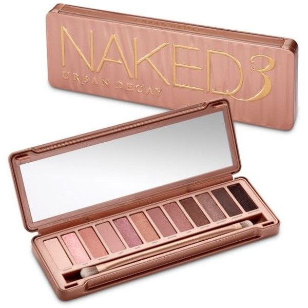 Urban Decay  Naked3 Palette ($54) ❤ liked on Polyvore featuring beauty products, makeup, anti aging makeup, urban decay, palette makeup, urban decay cosmetics and blending brush