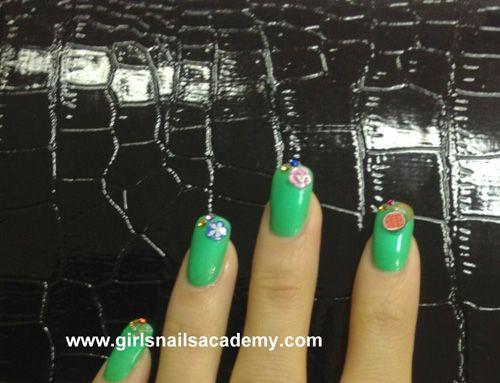 3D Fruits Girls, N° -995 ,     nails arts 3D,     fruits,     légumes ,   vernis semi permanent     vert,