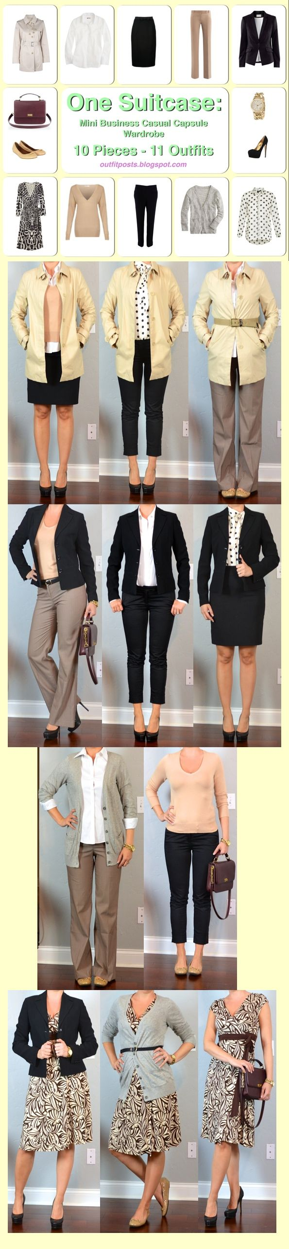 one suitcase: mini business casual capsule wardrobe | Outfit Posts