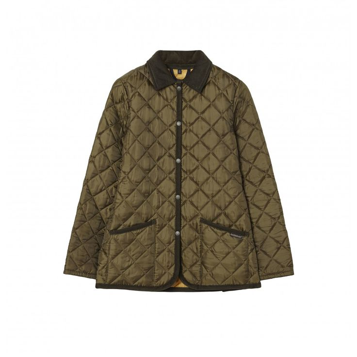 A classic regular fit quilted jacket with a cord collar and trim, with press stud fastening, two patch pockets, an internal pocket and back vents. Quilted in our signature two inch diamond quilt in a Polyester Taffeta in Spruce, lined in our horse jacquard polyester in Medallion Gold.
