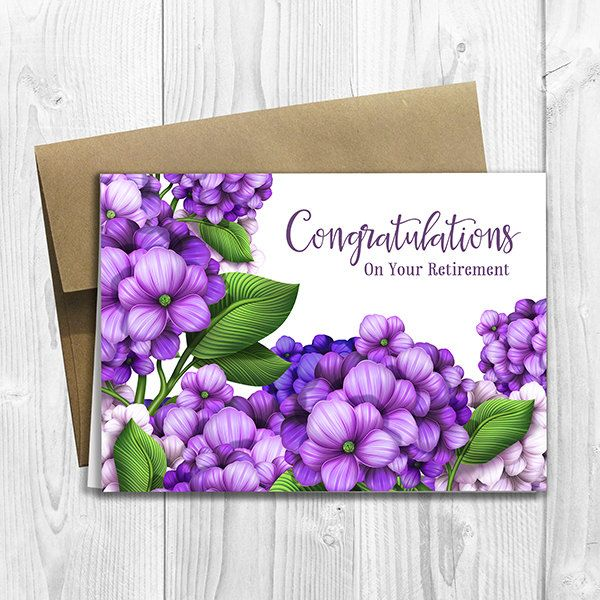 PRINTED Congratulations On Your Retirement 5x7 Greeting Card with purple flowers by DesignsLM on Etsy
