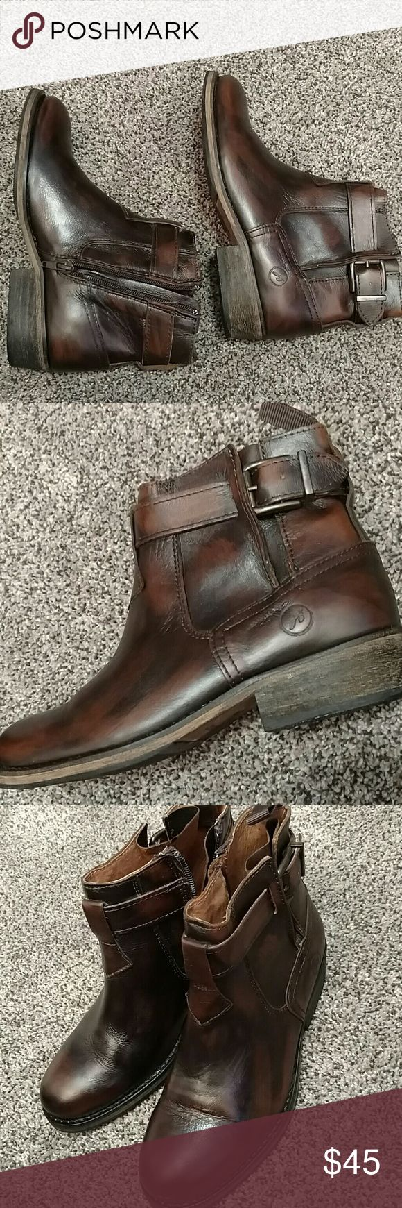 Bronx brand. Leather ankle Boots with zippers Brown black leather. Very sharp looking and super high quality workmanship. Look new.Made in Portugal Bronx  Shoes Ankle Boots & Booties