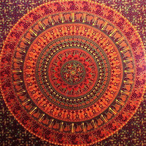 Indisch Psychedelic Wandteppich Mandala Rot Braun Elefant Boho