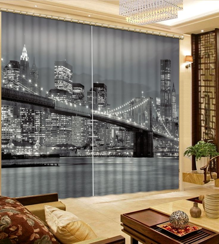 Photo 3D Curtains city building night Living Room Bedroom Curtains Blackout Curtains For Home #Affiliate