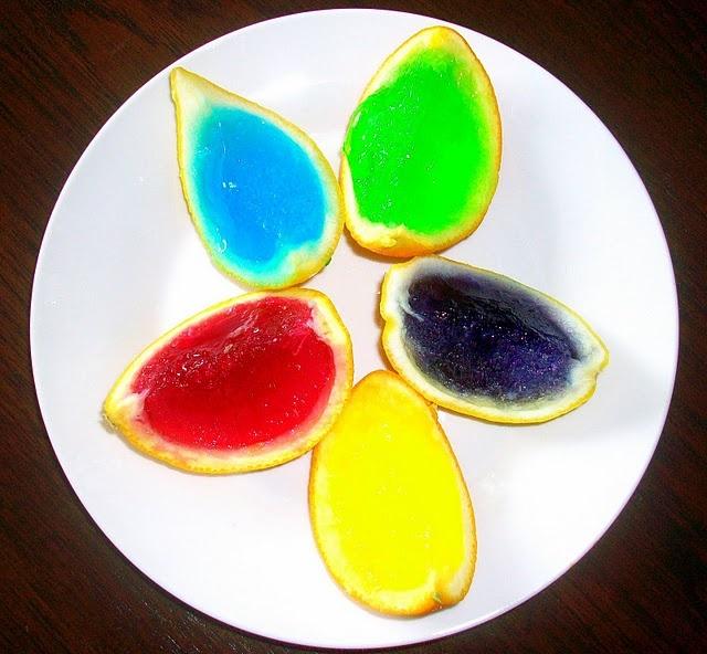 jello in lemon cups future rainbow theme cool off idea for kids