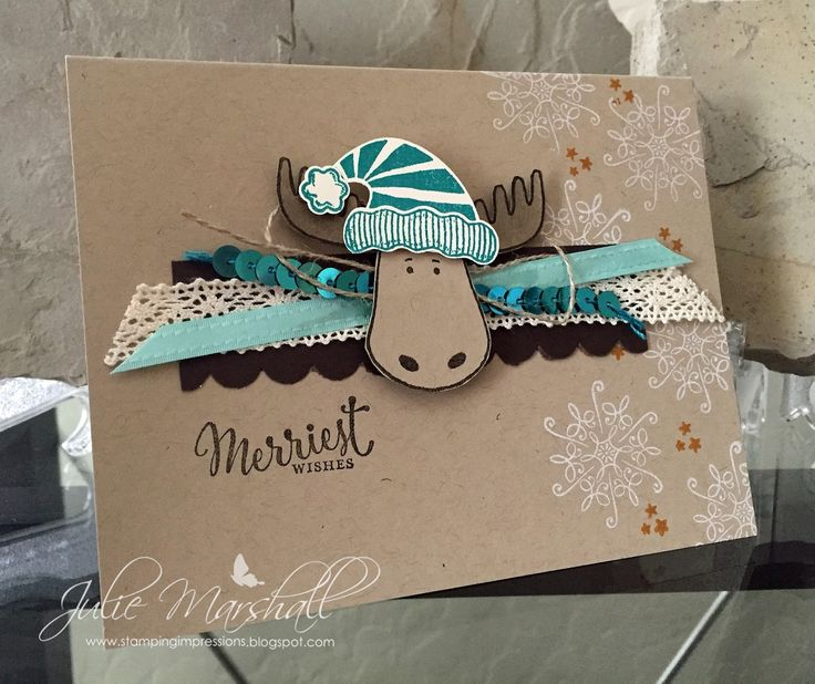Hi All, Is this guy not the cutest??? Who can resist a moose? And, paired with a santa hat? I sure couldn't! This card was inspir...