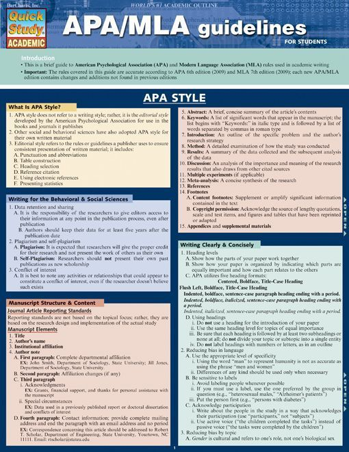 Anyone writing a paper will need to use one of these two forms of documentation. This 4-page guide includes: APA abbreviations, APA punctuations, MLA reference works, style and much more