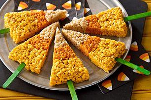 halloween dessert: Holiday, Recipe, Candy Corn, Halloween Food, Corn Rice, Halloween Treats, Rice Krispie