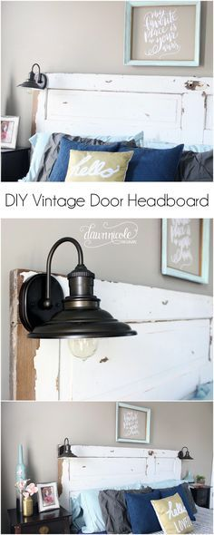 DIY Vintage Door Headboard | Learn how to turn a vintage door into a headboard and convert scones into mounted plug-in reading lamps! Total project cost: Under $150! | dawnnicoledesigns.com