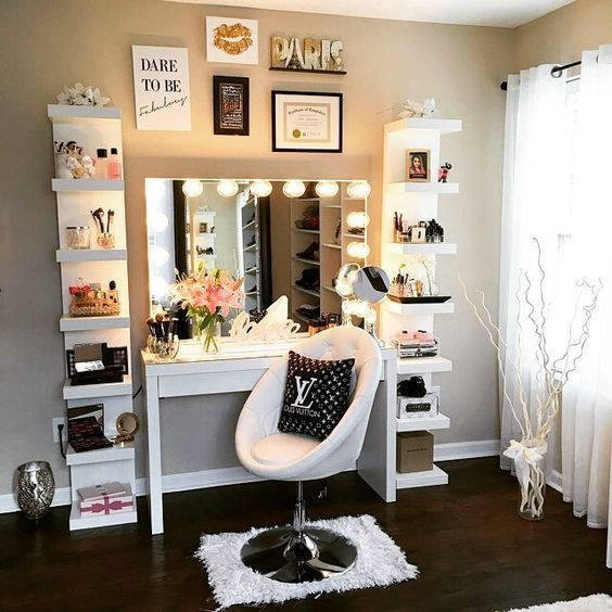 Lack makeup station with a makeup desk and a lit mirror