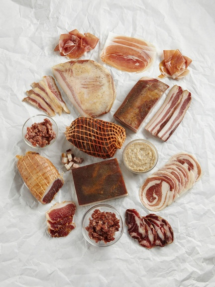 """Porkucopia    Throw a party no one will ever forget: This """"Porkucopia"""" package bundles the best charcuterie from an artisanal Iowan company beloved by chefs nationwide. There are four packets of luxe prosciutto, two of elegant pancetta, ruby-red Lonza, crumbled prosciutto and speck to toss with pastas, lardo for crostini, and bacon.      Additional information  $199.00"""