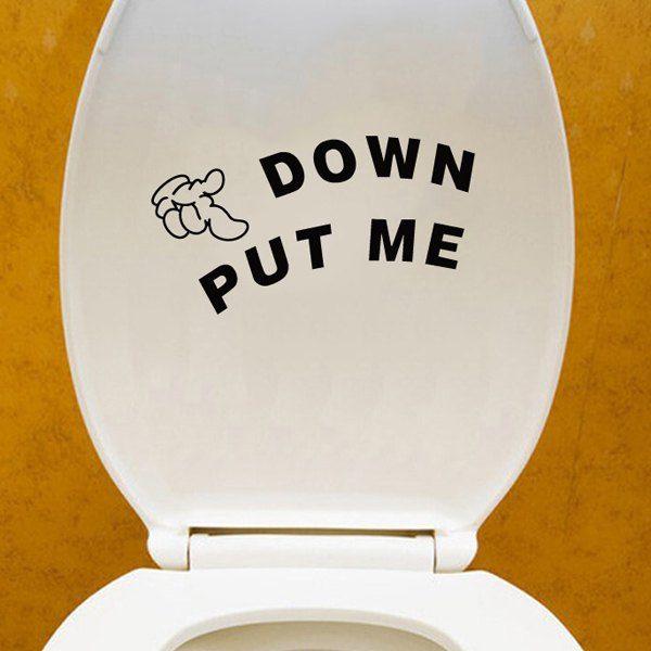 $0.80 Creative Put Me Down Pattern Toilet Sticker For Bathroom Restroom Decoration