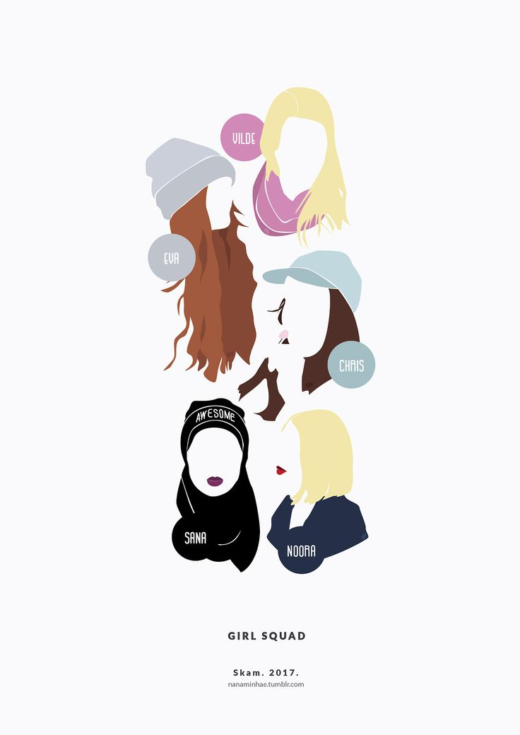 "Second pastel version of The Girl Squad has arrived to RedBubble! ^^ I hope you enjoy it :) ♥ SKAM. 2017. Minimal project. "" Source: nanaminhae.tumblr.com Buy it here: REDBUBBLE and my IG is brbrgraphics """