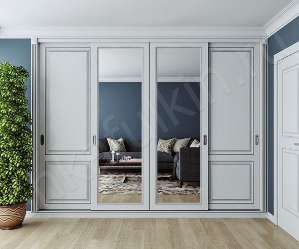 """Если вы являетесь ценителем классического стиля, то шкаф-купе """"Монблан"""" создан специально для вас. В такой модели встроенного шкафа-купе идеально сочетаются светлые фасады из МДФ с патиной и пилястры. В интерьере, который соответствует классическому стилю, светлая мебель с патиной смотрится очень элегантно и дорого."""