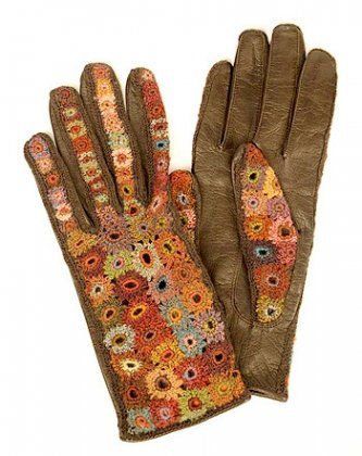 sophie digard | Sophie Digard Leather and Wool Gloves  Why didn't I think of this?