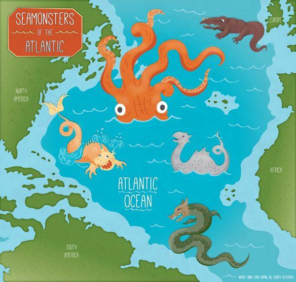 'Sea Monsters of the Atlantic Ocean' Map by Sara Lynn Cramb, via Behance