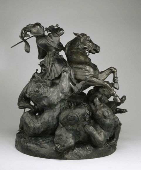 A.-L. Barye, Surtout du duc d'Orléans. Chasse à l'ours, fonte par Richard, Fressange et Honoré Gonon, Baltimore, The Walters Art Museum.