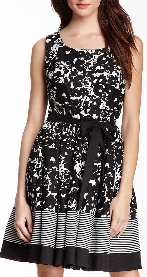 Voile Print Fit & Flare Dress