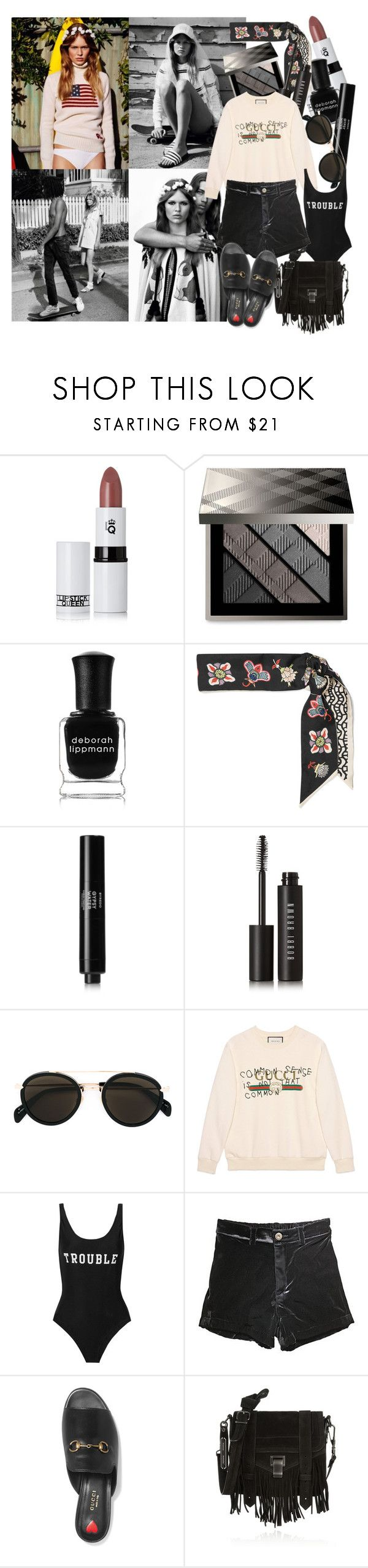 """""""They're gonna watch me disappear into the sun"""" by brownish ❤ liked on Polyvore featuring Alasdair, Lipstick Queen, Burberry, Deborah Lippmann, Valentino, Byredo, Bobbi Brown Cosmetics, CÉLINE, Gucci and ADRIANA DEGREAS"""