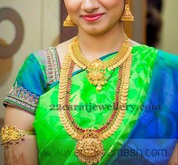 Jewellery Designs: Bride in Gemstone Kasu Mala